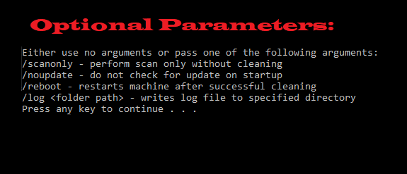 McAfee Rootkit Remover Parameters